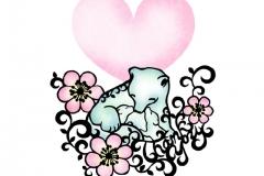Animal parent and child シロクマ Polar Bear  size:182×257mm