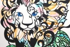 ライオンとヒマワリ Lion&Sunflower size:515×728mm