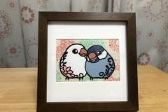文鳥『米ちゃん&麦ちゃん』(『ことり切り絵』オーダー)